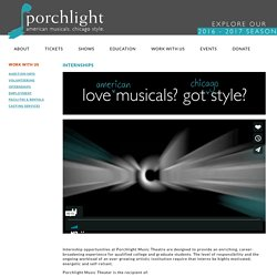 Internships - Porchlight Music Theatre
