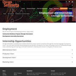 Employment and Internships - Chicago Sinfonietta