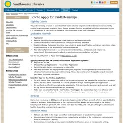 Smithsonian Libraries :Internship Opportunities