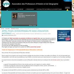 Appel pour l'interopérabilité dans l'Éducation nationale - Association des Professeurs d'Histoire et de Géographie