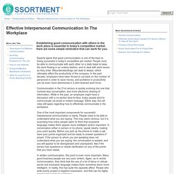Effective Interpersonal Communication In The Workplace
