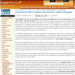 Interpersonal Skills in Software Development - Agree to Disagree
