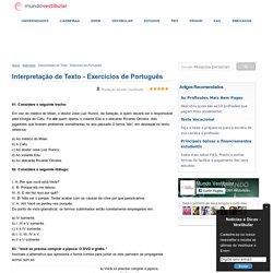 Interpretação de Texto - Exercícios de Português