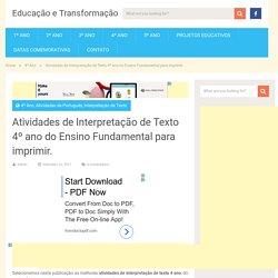 Atividades de Interpretação de Texto 4 ano do Ensino Fundamental.