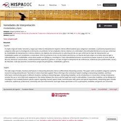 Variedades de interpretación: modalidades y tipos - Hispadoc
