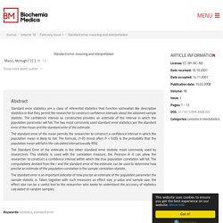 Standard error: meaning and interpretation - Biochemia Medica