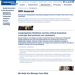 Over the Phone Interpretation Insured Offerings – LanguageLine