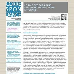 LE RÔLE DES PAIRS DANS L'INTERPRÉTATION DU TEXTE LITTÉRAIRE