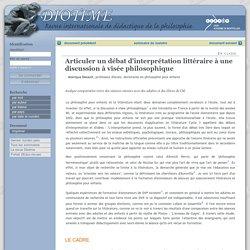 Diotime - Articuler un débat d'interprétation littéraire à une discussion à visée philosophique