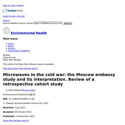 Microwaves in the cold war: the Moscow embassy study and its interpretation. Review of a retrospective cohort study