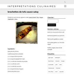 brochettes de tofu sauce satay