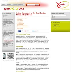 Critical Approaches to The Great Gatsby » Marxist interpretations » The Great Gatsby Study Guide from Crossref-it.info