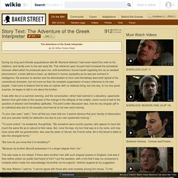 Story Text: The Adventure of the Greek Interpreter - Baker Street Wiki - The Sherlock Holmes encyclopaedia