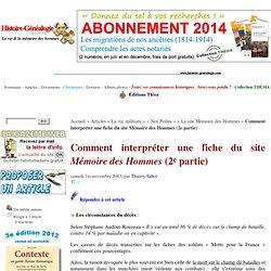 Comment interpréter une fiche du site Mémoire des Hommes (2e partie)