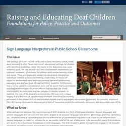 Sign Language Interpreters in Public School Classrooms