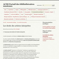 Les droits des artistes-interprètes - ACIM Portail des bibliothècaires musicaux