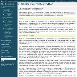 Utiliser l'interpréteur Python — Python 2.7.6 documentation