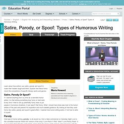 Satire, Parody, or Spoof: Types of Humorous Writing - Free Analyzing and Interpreting Literature Video