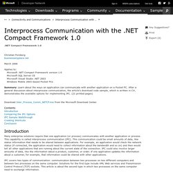 Interprocess Communication with the .NET Compact Framework 1.0