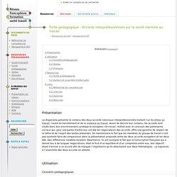 Fiche pédagogique : Accords interprofessionnels sur la santé mentale au travail - RFFST
