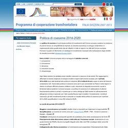 Interreg Politica di coesione 2014-2020