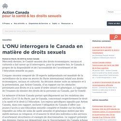 L'ONU interrogera le Canada en matière de droits sexuels