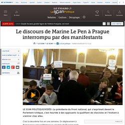 Le discours de Marine Le Pen à Prague interrompu par des manifestants