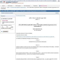 LOI no 2001-588 du 4 juillet 2001 relative à l'interruption volontaire de grossesse et à la contraception