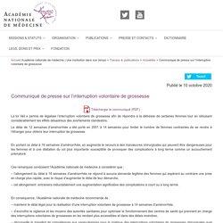 Communiqué de presse sur l'interruption volontaire de grossesse / Académie nationale de médecine, octobre 2020