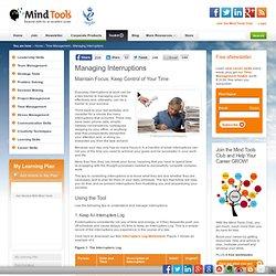Managing Interruptions - Time Management Skills from MindTools.com