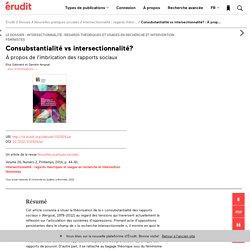 Consubstantialité vs intersectionnalité? :À prop… – Nouvelles pratiques sociales – Érudit