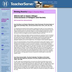 Witchcraft in Salem Village: Intersections of Religion and Society, Divining America, TeacherServe®, National Humanities Center