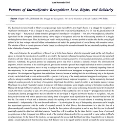 Patterns of Intersubjective Recognition: Love, Rights, and Solidarity by Axel Honneth 1995