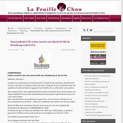 Intersyndicale CUS: Lettre ouverte aux élus de la Ville de Strasbourg et de la CUS.