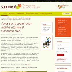Favoriser la coopération interterritoriale et transnationale