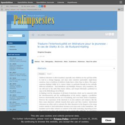 Traduire l'intertextualité en littérature pour la jeunesse: le cas de Stalky & Co. de Rudyard Kipling