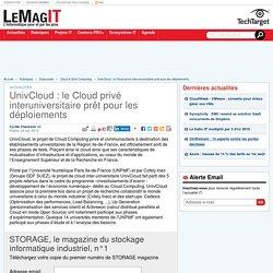 UnivCloud : le Cloud privé interuniversitaire prêt pour les déploiements