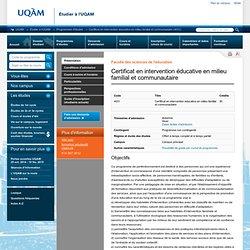 Certificat en intervention éducative en milieu familial et communautaire (4031