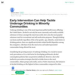 Early Intervention Can Help Tackle Underage Drinking in Minority Communities