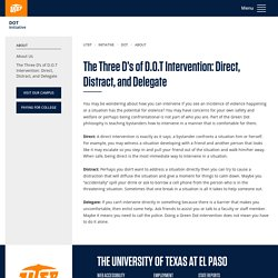The Three D's of D.O.T Intervention: Direct, Distract, and Delegate
