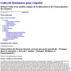 Hanane Karimi, porte parole de «Femmes dans la mosquée» - Collectif féministes pour l'égalité