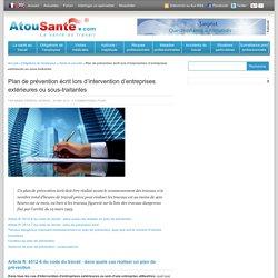 Plan de prévention écrit lors d'intervention d'entreprises extérieures ou sous-traitantes