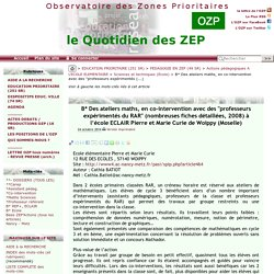 """B* Des ateliers maths, en co-intervention avec des """"professeurs expérimentés(...) - - OZP - Observatoire des Zones Prioritaires"""