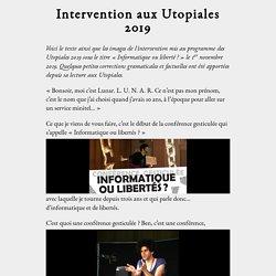 Intervention aux Utopiales 2019—Informatique ou liberté?