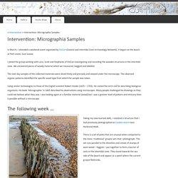 Cliffface Art Studios: Intervention: Micrographia Samples