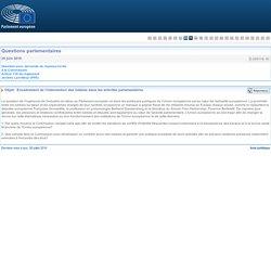 PARLEMENT EUROPEEN - Réponse à question E-005116-16 Encadrement de l'intervention des lobbies dans les activités parlementaires