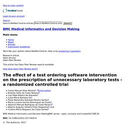 The effect of a test ordering software intervention on the prescription of unnecessary laboratory tests - a randomized controlled trial