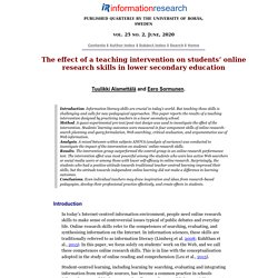 The effect of a teaching intervention on students' online research skills in lower secondary education