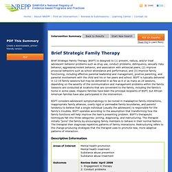 Brief Strategic Family Therapy