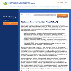 Intervention Summary - Wellness Recovery Action Plan (WRAP)